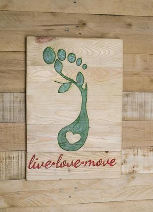 """""""Live-love-move"""" настенный брошированный декор"""