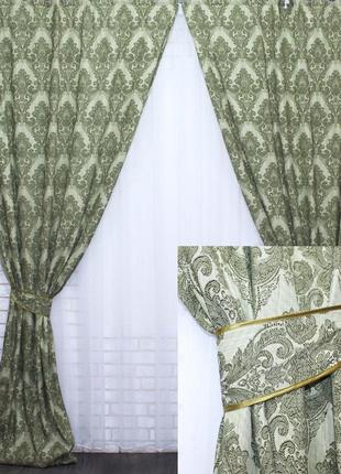 """Комплект готовых штор """"корона"""" . цвет - зеленый"""