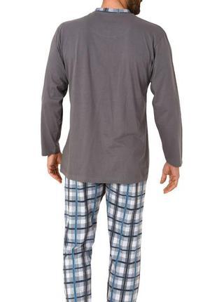 Пижама с длинными рукавами, брюками в клетку, однотонным верхо...
