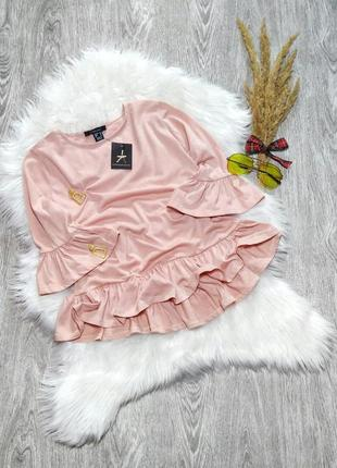 Новая нежная блузка с воланами рюшами пудрового цвета atmosphe...