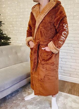 В наличии Теплый мужской махровый халат sport