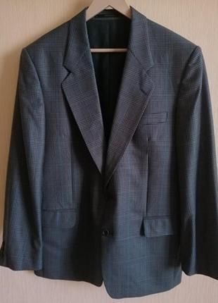 Шикарный  изумрудный шерстяной пиджак в клетку гленчек