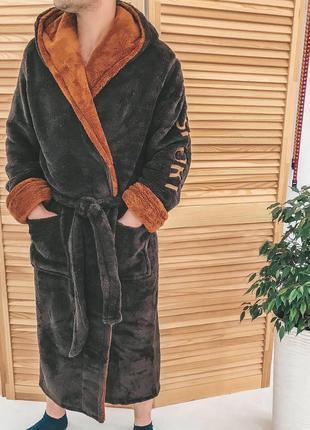 Теплый мужской махровый халат sport
