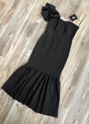 Шикарное вечернее чёрное платье рыбий хвост на одно плече!новое!