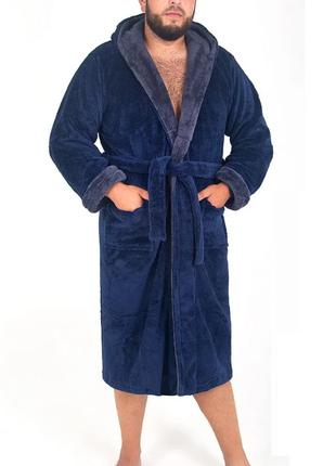 Мужской махровый халат , темно синий/графит
