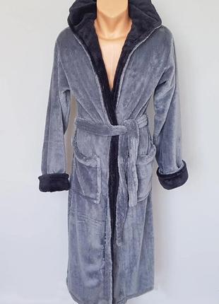 Мужской махровый халат светло серый/темно синий