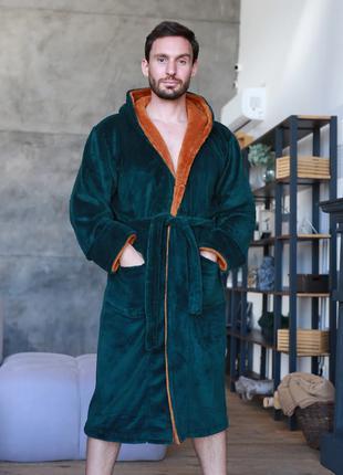 Теплый мужской махровый халат изумруд/медь