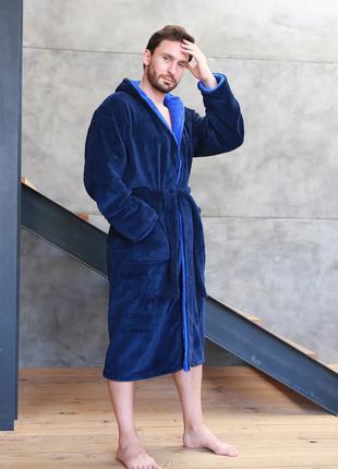 Мужской махровый халат , темно синий/электрик