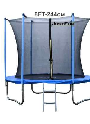 Батут Just Fun 305см Blue сітка внутрішня + драбинка. Польща
