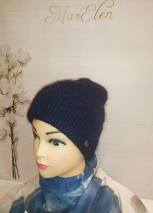 Синяя шапка ангора с люрексом,цвет синий индиго, комплект...