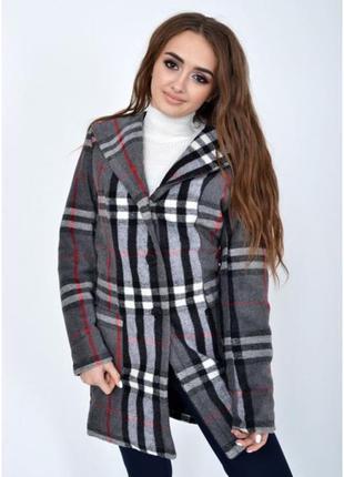 Стильное деми пальто кашемир серое с капюшоном, последний размер,