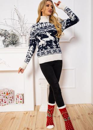 Свитер гольф с оленями зима, новогодний свитер,шерсть