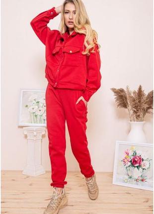 Шикарный утепленный зимний костюм на флисе,цвет хаки,красный,все
