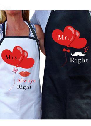 """Для пары. Свадебные фартуки """"Мистер и Миссис"""", Mr & Mrs"""