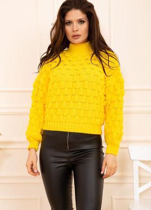 Укороченный свитер оверсайз с горлом,желтый,серый,беж,черный,7...