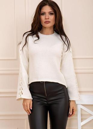 Стильный свитер,джемпер оверсайз,рукав клеш,молоко,черный,...