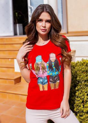 Красная хлопковая футболка с цветным принтом