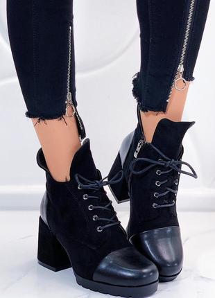 Зимние ботинки на каблуке,тёплые ботинки  с мехом на шнуровке.