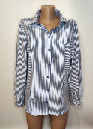 Стильная полосатая рубашка с вышивкой на спине