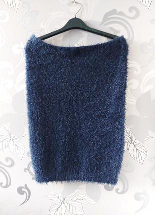 Синяя тёплая юбка травка юбка-карандаш на резинке для беременных