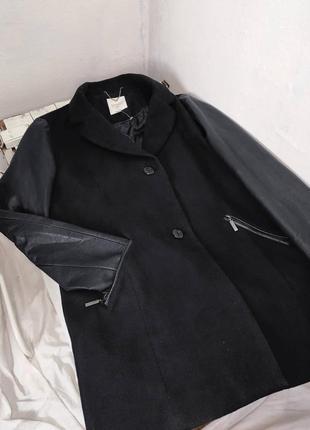 Весеннее пальто чёрное пальто с кожаными рукавами пальто пиджа...