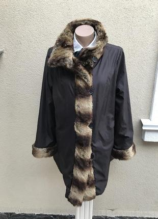 Красивая,двухсторонняя куртка-шубка,пальто меховое,плащ,тренч,...