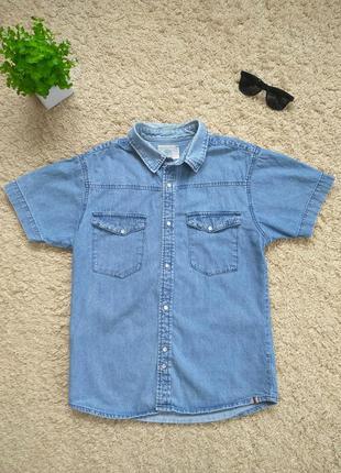 Мужская джинсовая рубашка с коротким рукавом bellfield