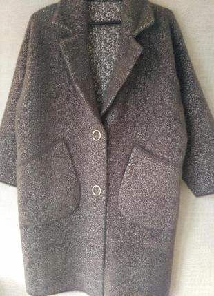 Пальто альпака лама кофейного цвета большого размера