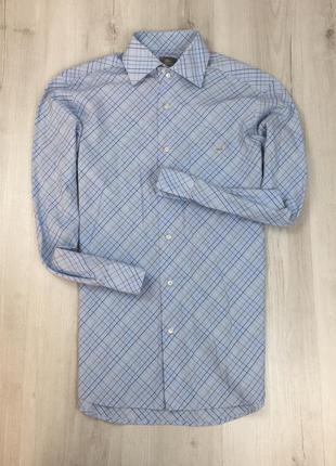 Z7 рубашка приталенная клетчатая голубая lacoste клетка
