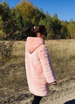 Шуба с капюшоном выше колена эко мех норка цвет пудра розовый