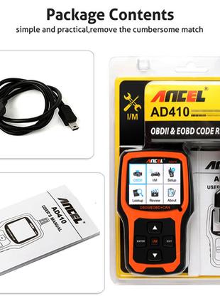 Автомобильный сканер ANCEL AD410 OBD2