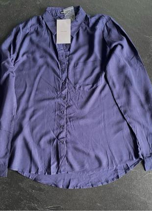 Новая синяя вискозная женская рубашка cropp