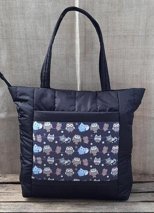 Шоппер сумка дутик женская демисезонная с принтом совы черная ...