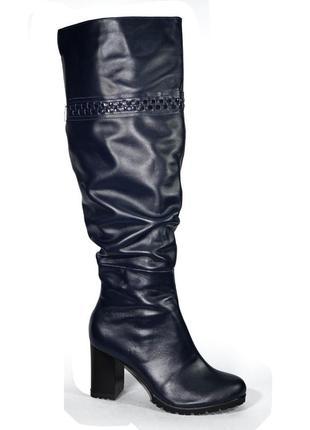 Высокие сапоги 42-43 р кожаные на каблуке