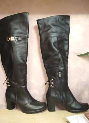 Зимние ботфорты 42 р кожаные большого размер