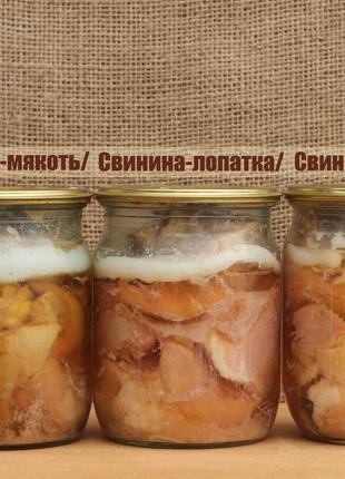 Тушенка домашняя, рыбные консервы, салаты, напитки