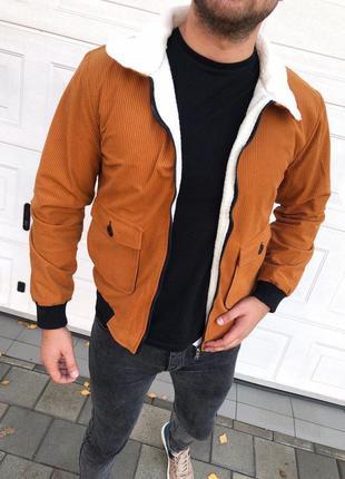 Мужская вельветовая демисезонная куртка-бомбер на овчине