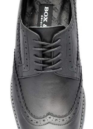 Классические мужские туфли - броги из натуральной кожи, черные.