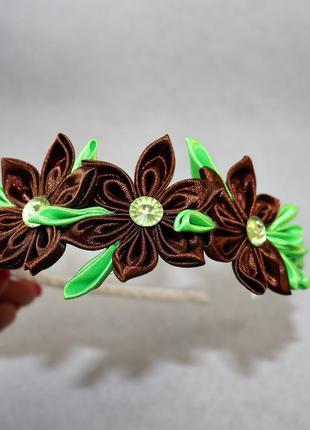 Супер обруч с цветами для девочек ручная работа