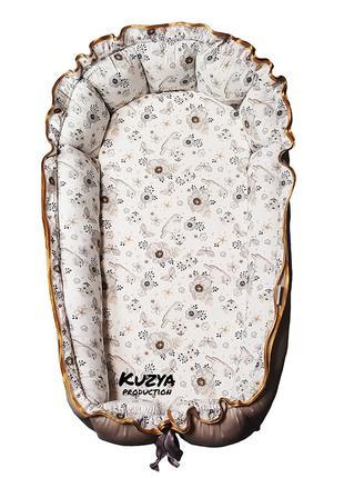 Кокон гнездышко для новорожденных Воробушки и цветы 0-18 мес.