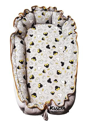 Кокон гнездышко для новорожденных Мини Маус с желтыми бантиками