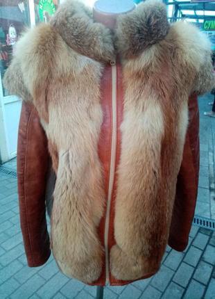 Шикарная курточка жилетка 😍 кожа лиса!