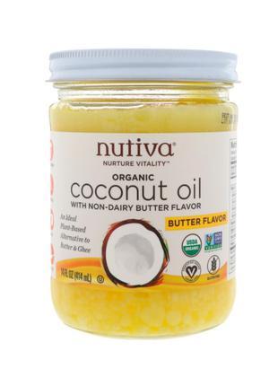 Кокосовое масло, с ароматом сливочного масла, Nutiva, 414 мл