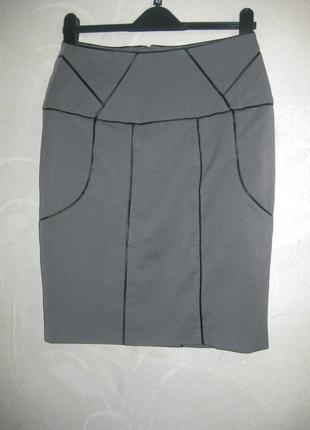 Юбка vero moda карандаш серая с кожаной каймой