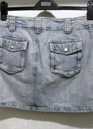 Мини юбка stradivarius джинсовая светлый джинс испания