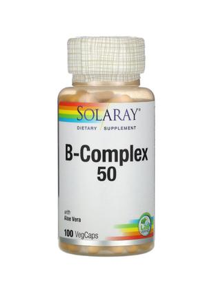 Комплекс Витаминов Группы B, B, В-50, B-50, Solaray, 100 капсул