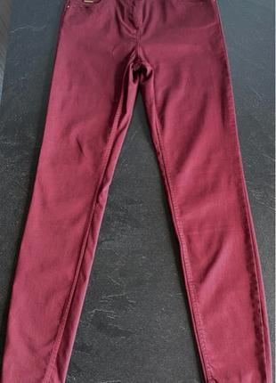 Бордовые облегчённые женские брюки/скини