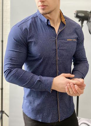 Сорочка чоловіча коричневі вставки gport 6502 синя