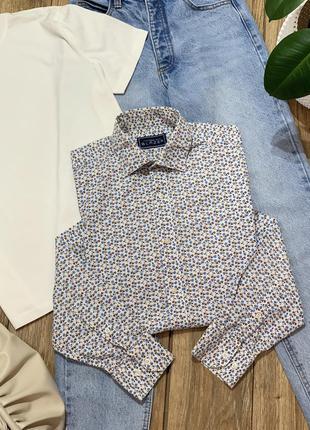 Рубашка хлопковая в цветочный принт