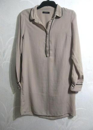 Длинная рубашка vila clothes платье серая бежевая длинный рукав